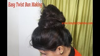 Massive Twist Bun of Floor Length Hair Done By Real Rapunzel Varsha