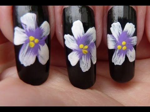 Simple. Easy One-Stroke Pretty Flower Painting Nail Art Tutorial HD Video