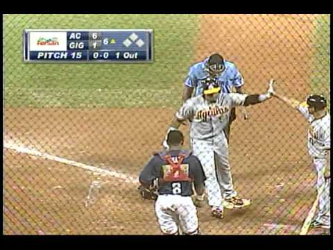 Primer cuadrangular para Yoenis Céspedes con las Aguilas Cibaeñas el 18 de enero del 2012. First homerun for Yoenis Cespedes while playing for the Aguilas in...