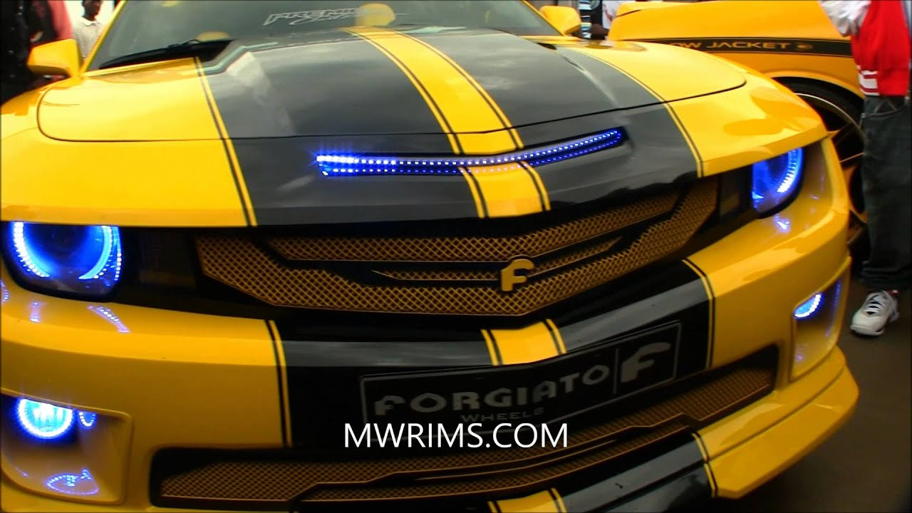 "Chevrolet Camaro Bodykit >> CAMARO SS ZL1 TTOPS SUPERCHARGED BODYKIT BUMBLE BEE ON 26"" FORGIATO RIMS - YouTube"