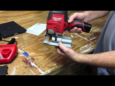 Exclusive Milwaukee M12 Cordless Jig Saw 2445-21 Hybrid Grip in Action