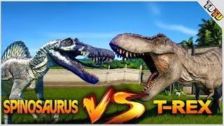 SPINOSAURUS Vs TYRANNOSAURUS REX! 100% Genome! Jurassic World Evolution Dinosaur Battle Park E2