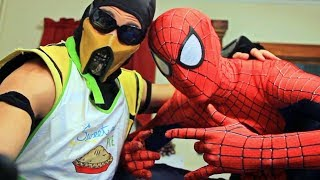 Spiderman & Scorpion make SMORES! (Cooking With Scorpion!) Marvel Spider--man Movie