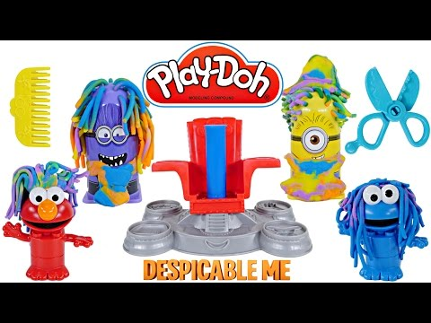 Play Doh Crazy Hair Disguise Lab Despicable Me Cookie Monster Elmo Playdough Duplo Transformation video