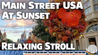 Main Street USA at Sunset - Relaxing Stroll during Halloween - 4K 60fps - Walt Disney World 2019