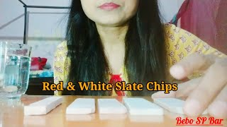 "#ASMR #SlateBar #Pencils ""Red & White Slate Chips"" 😋 Slate Pencil😳 Crunchy & Earthy 🤤 Enjoy"