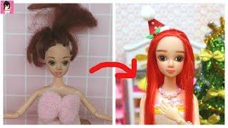 Biến hóa búp bê xấu thành đẹp- May tóc, trang điểm, làm cài tóc Giáng sinh / Ami DIY