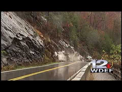 Our crew of Bill Mitchell and Allen Fairbanks were standing on Highway 64, shooting the rock slide from this morning. Then engineers rushed them out of the r...