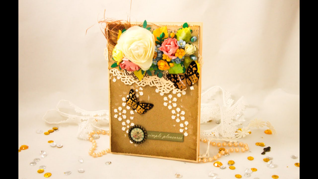 Как сделать открытку из цветов