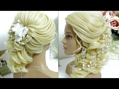Bridal prom hairstyle for long hair tutorial Side swept curls