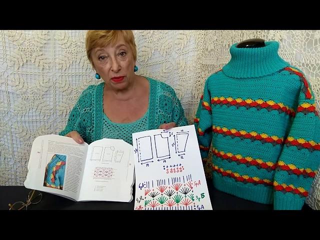 """Вязание крючком для детей от О.С. Литвиной. Свитер """"Огонек"""". Узор, схема, описание вязания."""