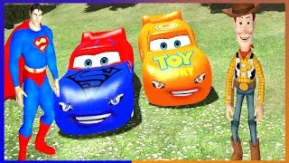 Toy Story Woody and Superman Disney Cars Lightning McQueen Superhero Movie Video for Kids
