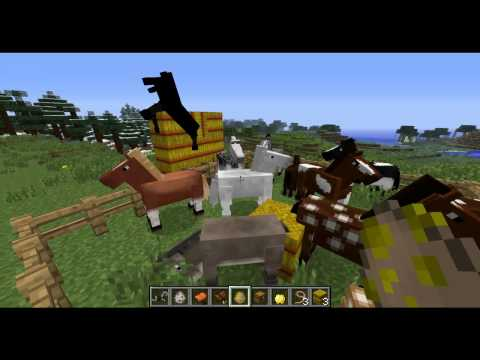Minecraft 1.6 Horses. Leads/Leashes. Hay Bales. Horse Armor and Carpets 13w16a