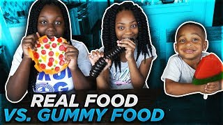 REAL FOOD VS GUMMY FOOD EXTREME   GROSS GIANT CANDY CHALLENGE   DJ'S CLUBHOUSE