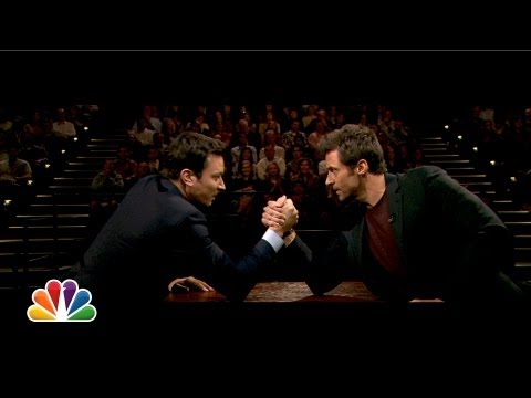 Jimmy Fallon and Hugh Jackman Arm Wrestle (Late Night with Jimmy Fallon)