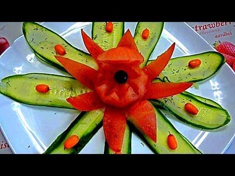 Украшения из помидора. Карвинг помидора. Decoration of tomato. Carving tomato.