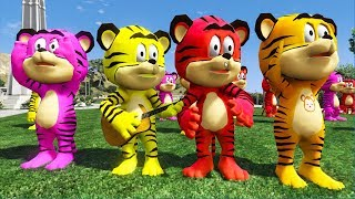 Kid songs to dance - Tiger dance to the music with friends then drive around city by car Kzone