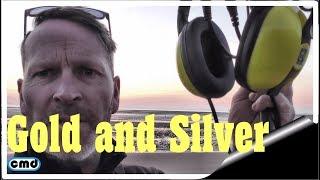 Minelab Equinox waterproof headphones test, gold and silver