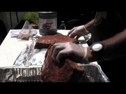 Danny Coogle cooking Flat Ribs on a Royal Oak Charcoal, Moore's Marinade