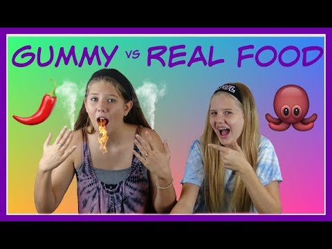 GUMMY VS REAL FOOD CHALLENGE 2 ***FUNNY VIDEO*** ||Taylor and Vanessa