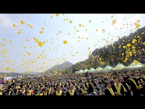 South Korea's president vows to raise Sewol ferry on first anniversary of the disaster that…