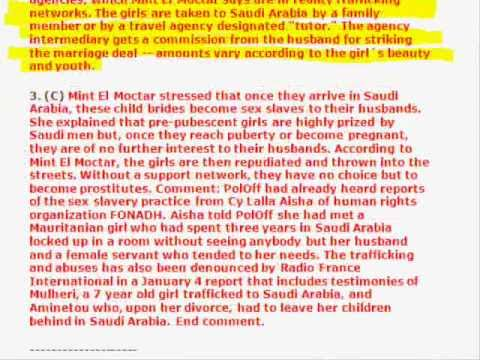 Wikileaks : Sex Slavery Of Young Girls In Saudi Arabia video