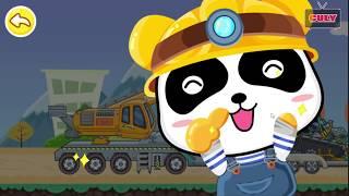 Gấu trúc panda lái xe công trình xây dựng Little Panda play Truck Car cu lỳ chơi game lồng tiếng vui