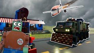 LEGO PLANE CRASH CAUSES ZOMBIE APOCALYPSE! - Brick Rigs Roleplay Gameplay - Lego City Zombie Movie