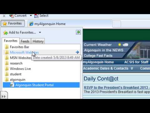 Bookmarking in Internet Explorer
