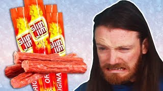 Irish People Try American Slim Jim Snacks