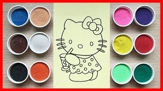 Đồ chơi trẻ em TÔ MÀU TRANH CÁT mèo Hello Kitty | Learn colors Sand Painting Toys (Chim Xinh)