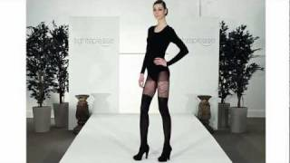 Skinny Model Wears Seductive Suspender Tights on Catwalk