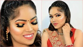 Indian WEDDING Party ORANGE Makeup - Step By Step Tutorial for Beginners | #Hacks #Beauty #Anaysa