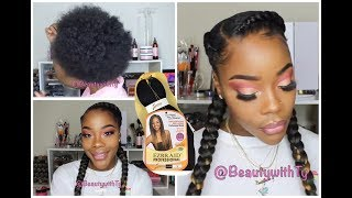 HOW TO: FEED-IN BRAIDS| DO IT YOURSELF| EASY| 2 BRAIDS WITH WEAVE TUTORIAL