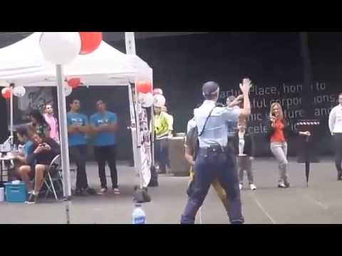 Australian Women Police and French Tourist is Trying to SEXY Dance