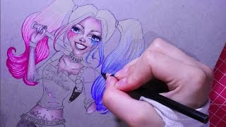 Harley Quinn - Margot Robbie in Suicide Squad - How To Draw Cute Cartoon, Manga