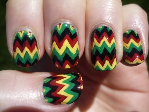 Jamaican Chevron Nail Art Tutorial