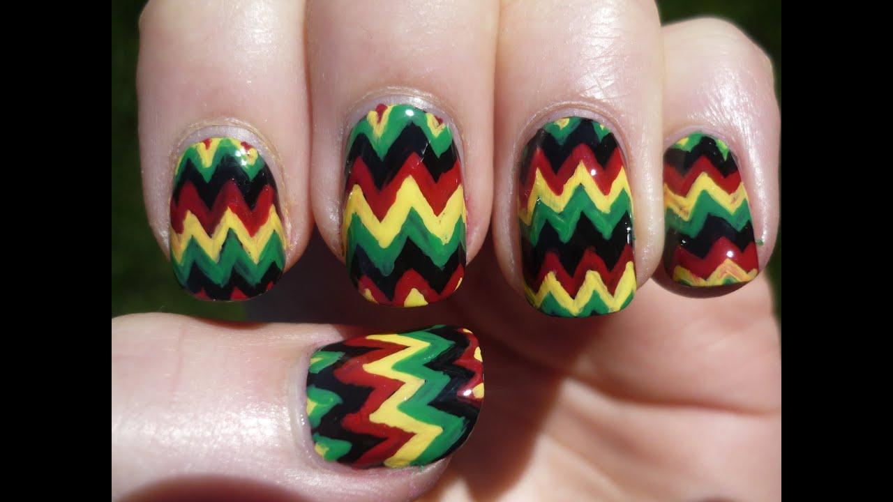jamaican rasta chevron nail art tutorial youtube