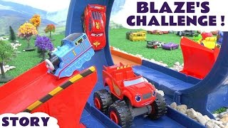 Blaze Challenge | Disney Cars with Thomas and Friends and Superheroes | Monster Dome Race Toy Set