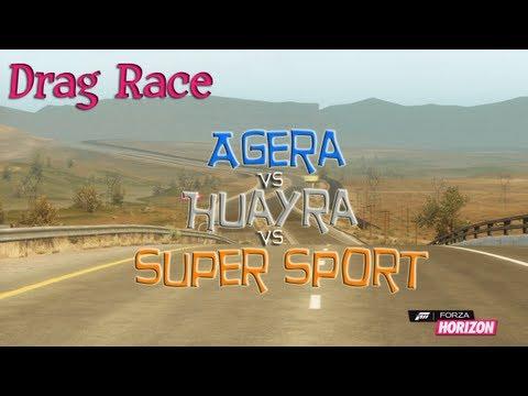forza horizon drag race koenigsegg agera vs pagani huayra vs bugatti veyro. Black Bedroom Furniture Sets. Home Design Ideas