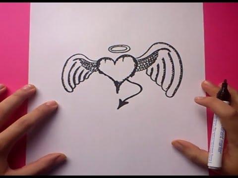 Como dibujar un corazon con alas paso a paso 2 | How to draw a ...
