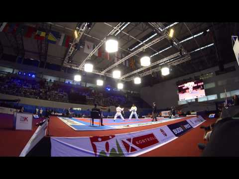 Bronze medal match. J.Horne vs Cecunjanin. 48th European Karate Championships