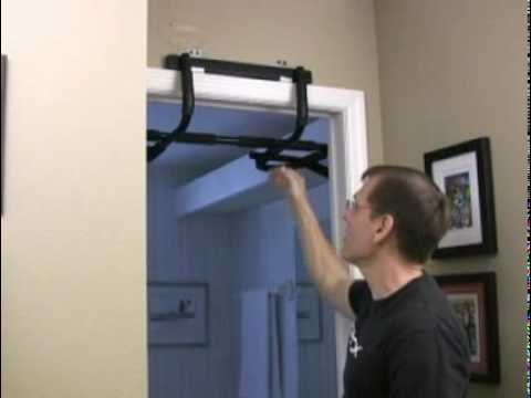 P90x chin up bar youtube for Door frame pull up bar