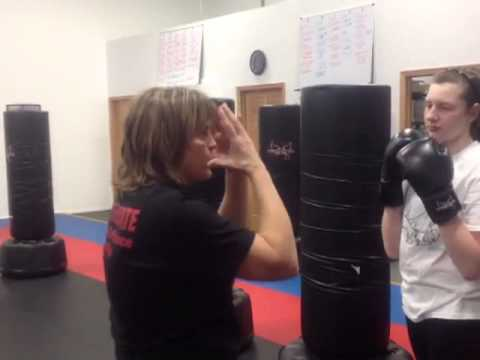 Teen women's kickboxing drills at focus karate Minneapolis mn Image 1