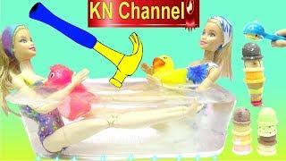 Đồ chơi trẻ em BÚP BÊ KN Channel ĐÓNG BĂNG LÁI XE !!! Toys Kids