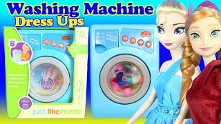 JUST LIKE HOME WASHING MACHINE Toy Play Dress Up Doll Clothes Princess Elsa Anna Gowns