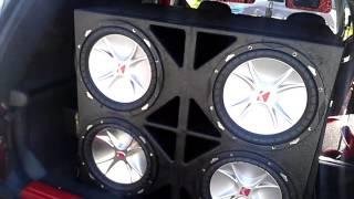 "4 Kicker cvr 12""s on a kicker zx1500.1 2013 upgrades TOO LOUD??? TOO BAD!!!"