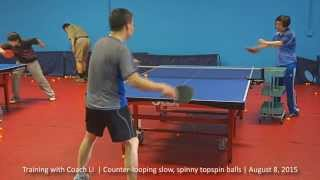 Training with Coach Li: Counter-looping slow, spinny topspin balls