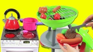 Pretend Play Toy Barbecue Grill Velcro Cutting Vegetables Peel - Cooking Playset BBQ - Unbox Me