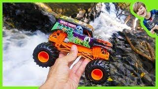 Monster Truck Vs Waterfall - Toy Trucks For Kids